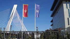Flags in front of bridge waving in the sky. Montenegro un stock video