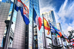 Flags in front of European Parliament building. Brussels, Belgiu Royalty Free Stock Photos