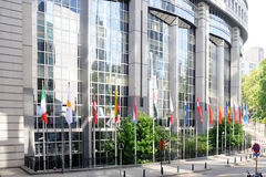 Flags in front of European Parliament towers - Brussels, Belgium Royalty Free Stock Photo