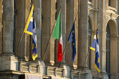 Flags in front of Palazzo Madama in Turin Royalty Free Stock Image