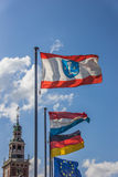 Flags in front of the Rathaus in Leer. Germany Royalty Free Stock Photography