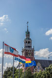 Flags in front of the Rathaus in Leer. Germany Stock Photo