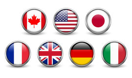 Flags of G7 countries. Button with metal frame and shadow vector illustration