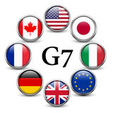 Flags of G7 countries. Button with metal frame and shadow Royalty Free Stock Image