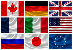 Flags of the G8 Industrialized Countries and EU Stock Photography