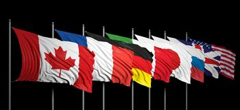 Flags of G8 members Stock Images