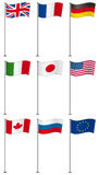 Flags of G8 members on flag pole isolated Stock Photos