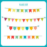 Flags Garlands Colors Vector Set. Vector On White Background. Vector Holiday Clip Art. Royalty Free Stock Images