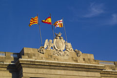 Flags at the Generalitat Palace Royalty Free Stock Images