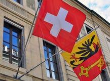 Flags of Geneva, Switzerland Stock Image
