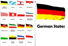 Flags of the German States. High quality 3D render with all German state flags Royalty Free Stock Photos