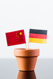 Flags of germany and china Stock Photography