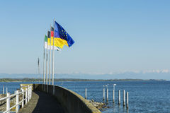 Flags of Germany and Europe at Lake Constance Royalty Free Stock Images