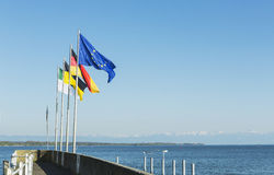 Flags of Germany and Europe at Lake Constance Royalty Free Stock Photos