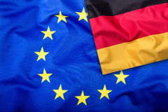 Flags of the Germany and the European Union. Germany Flag and EU Flag. Flag inside stars. World flag concept Stock Photography