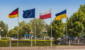 Flags of Germany, the European Union, Poland and Ukraine Royalty Free Stock Photo