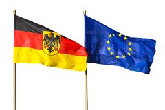 Germany Flag and EU Flag: Germany Federal Republic of Germany; in German: Bundesrepublik Deutschland and the European Union flags. Flags of Germany Federal Royalty Free Stock Photography