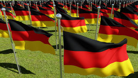 Flags of Germany in green field. Royalty Free Stock Photos