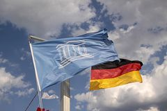 Flags of Germany and UNESCO Stock Photos