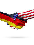 Flags Germany and United States countries, overprinted handshake. Stock Photography
