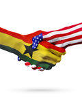 Flags Ghana and United States countries, overprinted handshake. Stock Photo