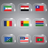 Flags Glass Set. Beautiful Flags of the world Set Vector illustration Stock Photo