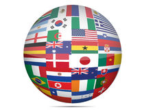 Flags globe. Flags of the world in globe format over a white background Royalty Free Stock Image
