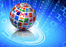 Flags Globe on Binary Code Background Stock Photo