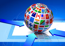 Flags Globe on Blue Abstract Background Royalty Free Stock Photos