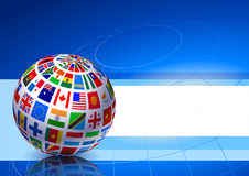 Flags Globe on Blue Abstract Background Royalty Free Stock Photo