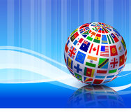 Flags Globe on Blue Abstract Background Stock Image