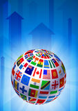 Flags Globe on Blue Arrow Background Stock Photos