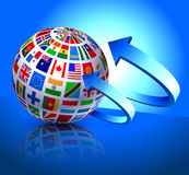 Flags Globe on Blue Arrow Background Royalty Free Stock Photos