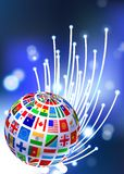 Flags Globe on Fiber Optic Background Stock Images