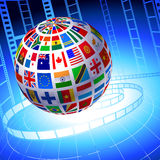 Flags Globe with Film Reel background Royalty Free Stock Photography