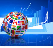 Flags Globe on Financial Background Royalty Free Stock Photo