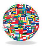 Flags in globe form Stock Photography