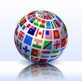 Flags Globe Internet Background Stock Photo