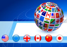 Flags Globe with Internet Buttons Royalty Free Stock Photo