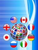 Flags Globe with Internet Buttons Stock Photo