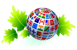 Flags Globe with Leaves Stock Image