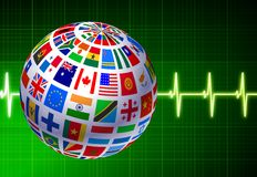 Flags Globe with Pulse Background Royalty Free Stock Photos
