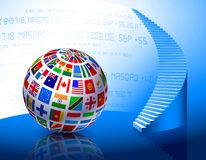 Flags Globe with Stairs Royalty Free Stock Photos