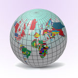 Flags Globe with World Map Royalty Free Stock Images