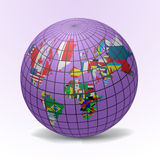 Flags Globe with World Map Stock Image