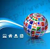 Flags Globes on Blue Internet Background Stock Image