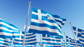 Flags of Greece on blue sky background. Stock Images