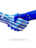 Flags Greece, European Union countries, partnership friendship handshake concept. Royalty Free Stock Images