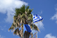 Flags of Greece and the European Union Stock Image