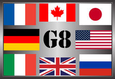 The flags of the Group of Eight Royalty Free Stock Images